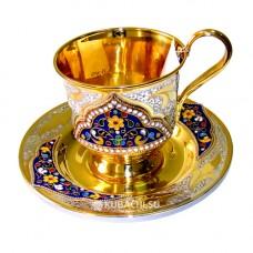 Блюдца и чашки из серебра Кубачи