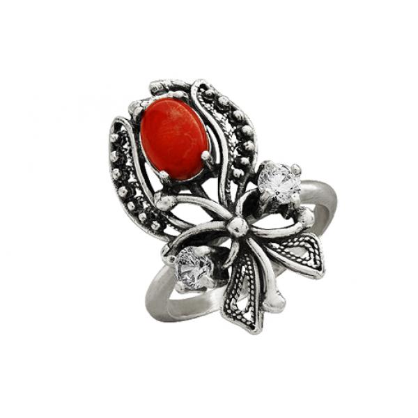 Кольцо с кораллом Анна-Белла