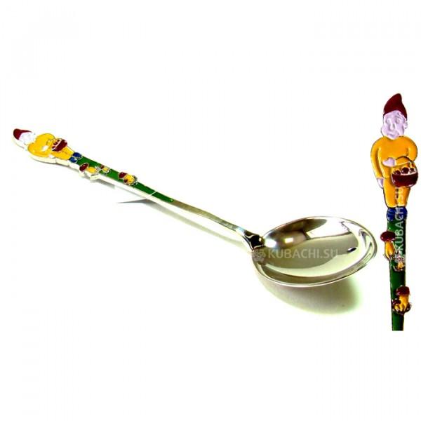 Серебряная детская ложка Гномик кубачинских мастеров