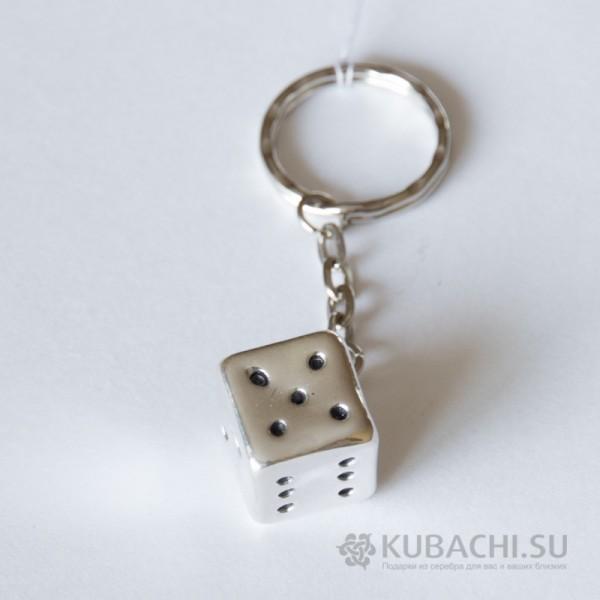 Серебряный брелок Игральный кубик