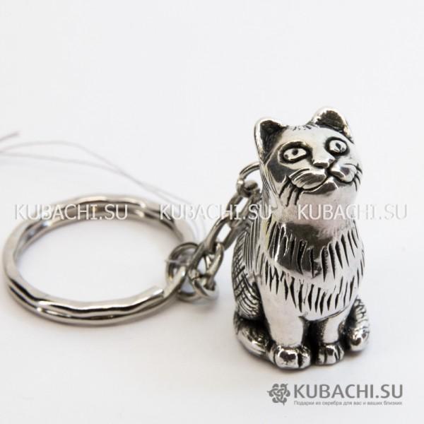 Серебряный брелок Добрый кот