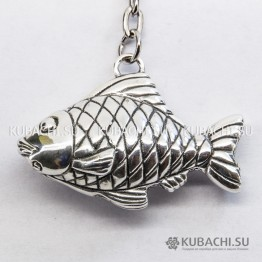 Серебряный Брелок Рыбка в чешуе