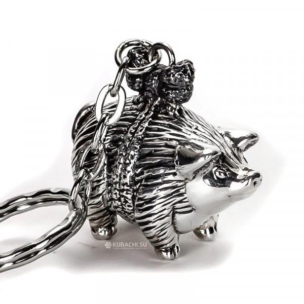 Серебряный брелок Свинка с бантиком