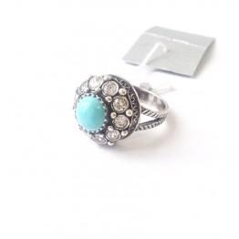 Кольцо с бирюзой и цирконами Анис