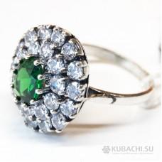 Кольцо с зеленым цирконом Аннитта