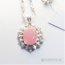 Кулон с розовым кварцем Кубачи
