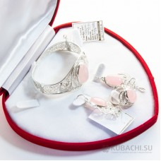 Гарнитур с розовым кварцем Кубачи