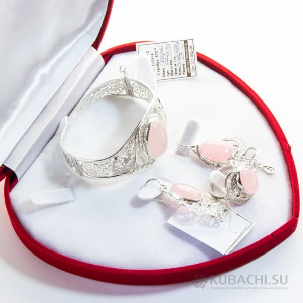 Гарнитур с розовым кварцем