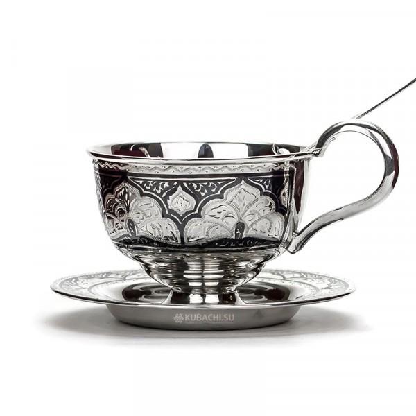 Серебряная чайная пара с ложкой
