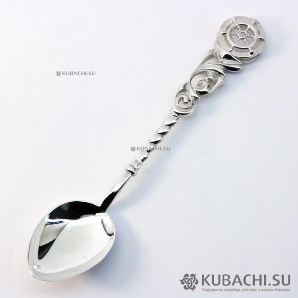 Серебряная чайная ложка Штурвал