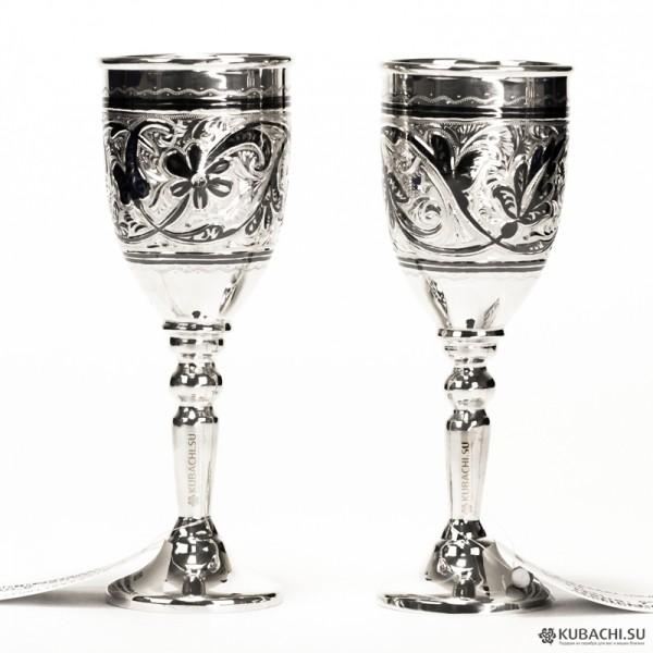 Набор серебряных рюмок кубачинских мастеров