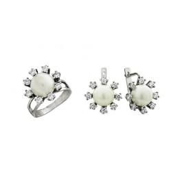 Комплект серьги и кольцо с жемчугом
