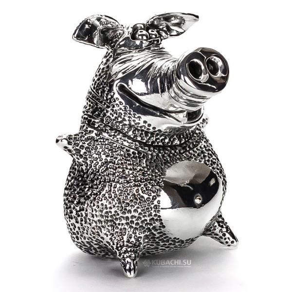 Серебряная статуэтка свин-хулиган