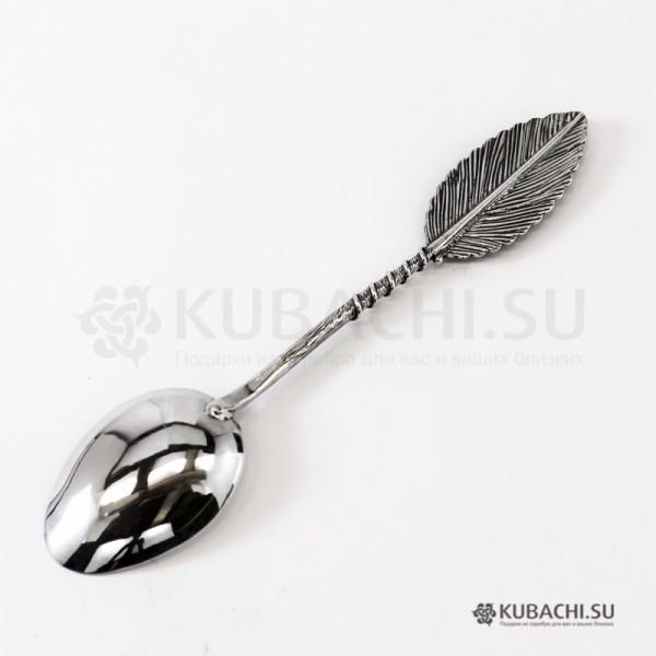 Серебряная чайная ложка Перо кубачинских мастеров